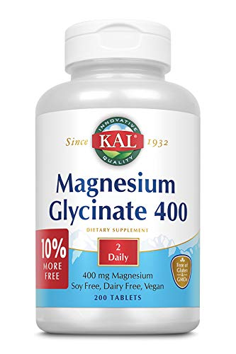 KAL Magnesium Glycinate 400 | Vegan, Chelated, Non-GMO, Soy, Dairy, and Gluten Free (200 CT)