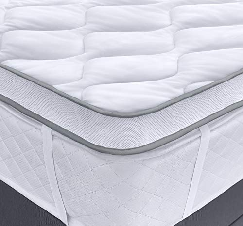 Velosso Luxury Orthopaedic Dual Air Flow Mattress Topper Max Anti Allergy Plush Mattress Enhancer Mesh Gusset Quilted Deep Filled Breathable Mattress Protector (King)