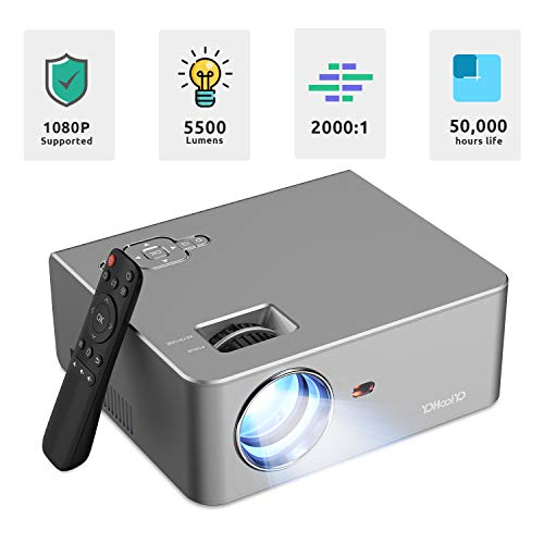 """Video Projector 1080P 5500L Max 250"""" Display Supported, 50,000hrs LED Lamp Life, Built-in Hi-Fi Speaker, Compatible with 2 HDMI/ USB/ VGA/ TV Stick/ PS4 for Movie Nights, Home Theater by YOHOOLYO"""