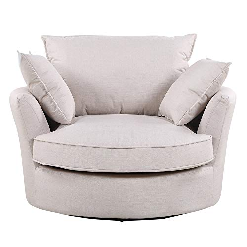 Sofa-Collection Olympia Herringbone Fabric Cuddle Swivel Chair for Office Living Room Bedroom Reception (Beige)
