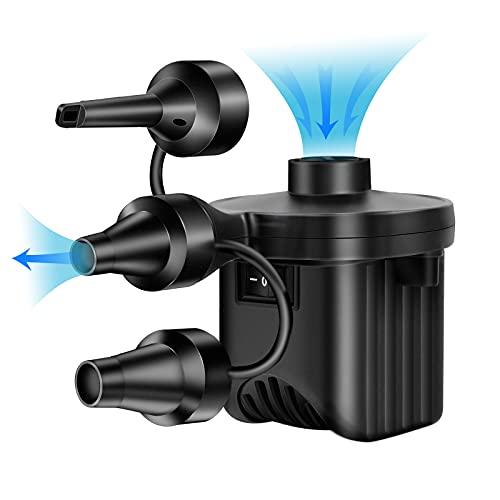 Bomba de aire eléctrica 2 en 1 para colchón de aire, bomba eléctrica Power Pump con 3 boquillas de aire, para colchón hinchable, almohada, cama, barco y flotador