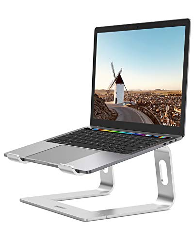 """Nulaxy Laptop Stand, Ergonomic Aluminum Laptop Computer Stand, Detachable Laptop Riser Notebook Holder Stand Compatible with MacBook Air Pro, Dell XPS, HP, Lenovo More 10-15.6"""" Laptops- Silver"""