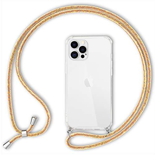NALIA Carcasa con Cuerda Compatible con iPhone 12 Pro MAX Funda, Transparente Hardcase & Correa Colgante para Colgar, Protectora Cover & Cordon para Llevar en Cuello Case, Color:Amarillo Multicolor