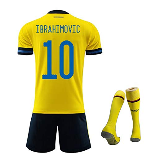 Adult Kinder Fußballanzug Trikot kurz, 2020 Europapokal schwedische Heimhülle Ibrahimović Fußballmannschaft T-Shirt + Shorts, zufällige Socken-16
