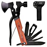 Portable Multipurpose Multitool Camping Gear, Gifts for Dad Men, 18 in 1 Stainless Steel Multi Tool with Axe Hammer Plier Set Durable Wooden Handle for Camping Hiking Outdoor Survival Gear Kit