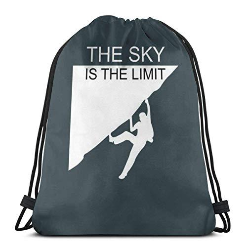 Rucksack Kordelzug Taschen Cinch Sack String Bag Extremsport Klettern Schrift Sackpack für Beach Sport Gym Reisen Yoga Camping Shopping Schule Wandern Männer Frauen
