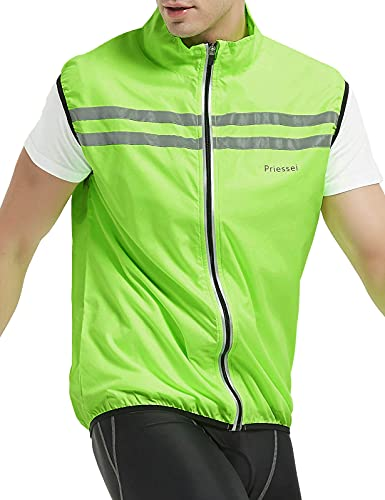 Priessei Men's Running Cycling Vest Reflective and Windproof Safety Bike Vest (Yellow, Medium)