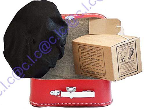 Wartime Memorabilia 1940/'s Boys Dressing up Set-Gas Mask Box-Label-Cap-Suitcase