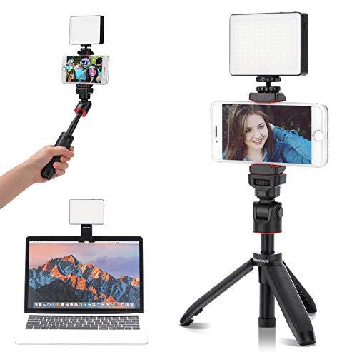 Newmowa Kit de iluminación para videoconferencia, Regulable 3200K-5600K con Mini trípode de Viaje de Mesa para transmisión en Vivo, grabación de Video, vlog, Maquillaje, Selfie, Youtube, etc.