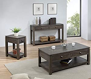 Sunset Trading Shades of Gray Livingroom Table Set, Weathered Grey