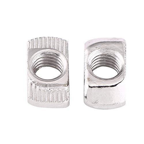 Akozon T Muttern, T-Nutmutter M4 / M5 / M6 / M8 T-nut Hammerkopf Mutter Befestigung Kohlenstoffstahl Verzinkt für Europäische Standard Aluminiumprofil für Extrusion 50 stücke(EU30-M6*16.5 * 8)