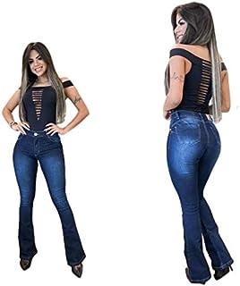 Calça Jeans Flare Feminina Com Lycra Cintura Alta Modeladora