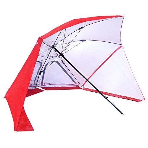 EasyGo Brella 2 in 1 Beach Umbrella, Red