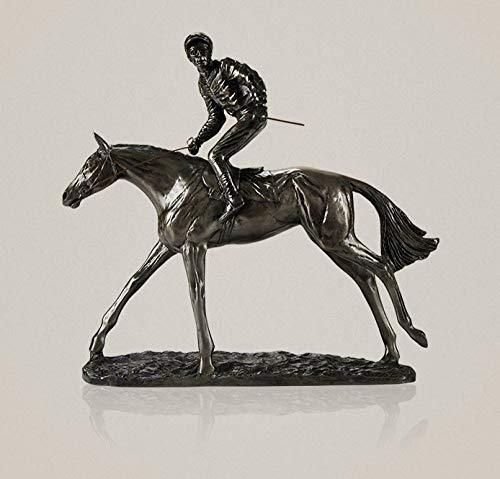 Beeldhouwen, beeldhouwen, beeldhouwen, figuur, handgemaakte Horse Racer Sculptuur, paarden paardrijden Sporting Prijs Decoratie Beeldhouwwerk Model Accessoires 199
