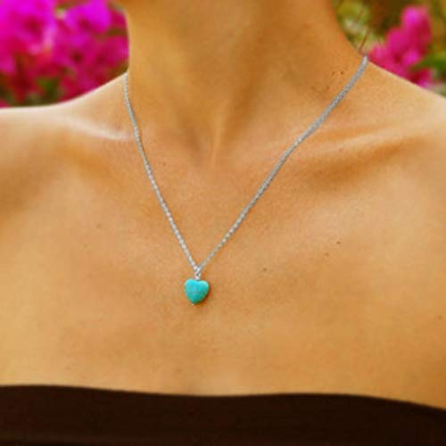 TseenYi Boho Necklace Simple Turquoise Heart Pendant Fashion Jewelry for Women and Girls (Silver)
