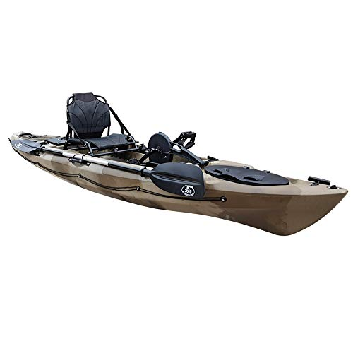 BKC PK12 Angler 12' Solo Sit-On-Top Fishing Kayak, Propeller-Drive w/Instant Reverse Pedal Drive, Rudder System, Paddle, and Upright Aluminum Frame Backrest Support Seat