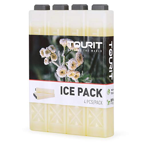 TOURIT Kühlakkus für Kühltasche Kühlbox Kühlrucksack Wiederverwendbar Lange-andauernd Kühlelemente für Camping, Strand, Angeln, Reisen, 4er Set,Gelb