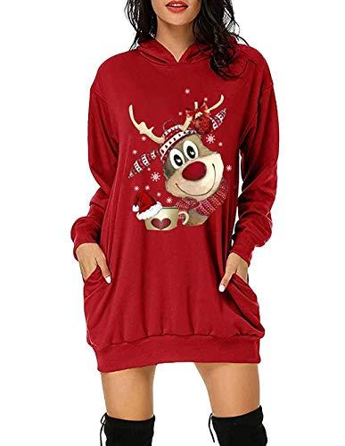 Maglione Natalizio Donna Lungo, Felpe Natale 3D Alce di Natale Pullover Autunno Inverno Renna Stampa Moda Casual Sciolto a Manica Lunga con Pocket Felpa Sweatshirt per Adulto Bambini (R,M)