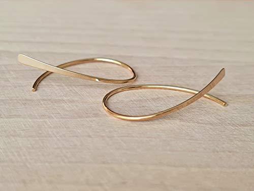Aros ovalados abiertos - pendientes extrafinos - joyería minimalista moderna