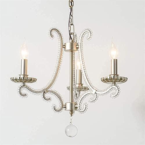 Francia cristal araña sala de estar luz comedor colgante luces hierro forjado antiguo simplicidad lujo dormitorio retro lámpara de techo E14*3
