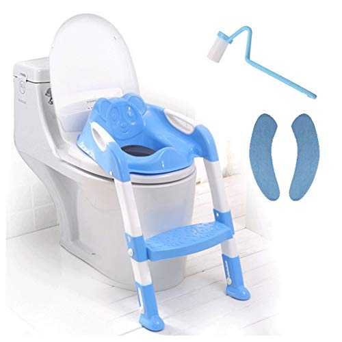 MUYUNXI kindertoilettadder voor kinderen, trapladder, toilet, zelfdragend pedaal, verstelbare hoogte (wastafel wc-borstel dnd kussen) bedpan babytoilet