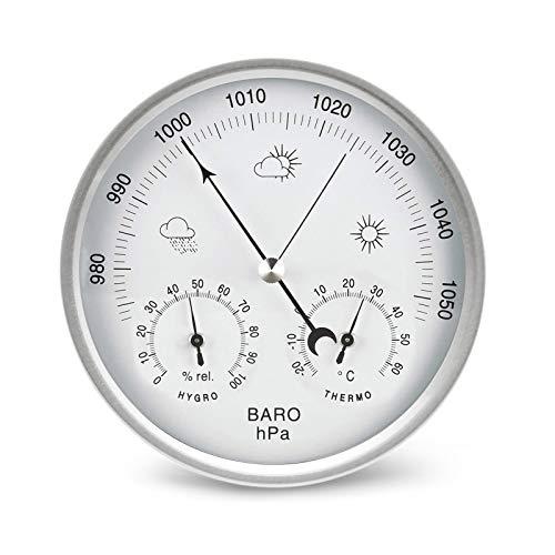 AMTAST Wetterstation analog Zifferblatt Barometer mit Thermometer Hygrometer Luftdruckmessungen Einfachheit und Einfache Ablesbarkeit