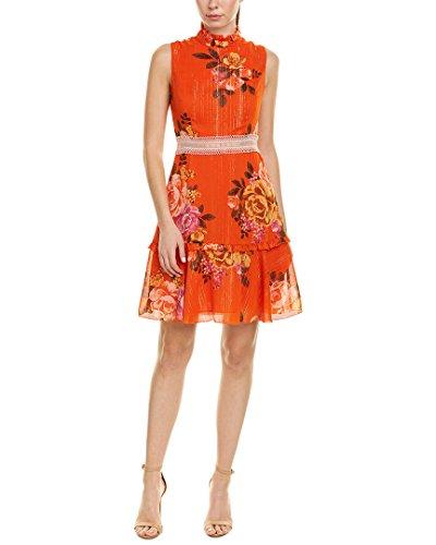 Donna Morgan Women's Sleeveless Chiffon Fit and Flare Dress, Orange/Lavender Multi, 10