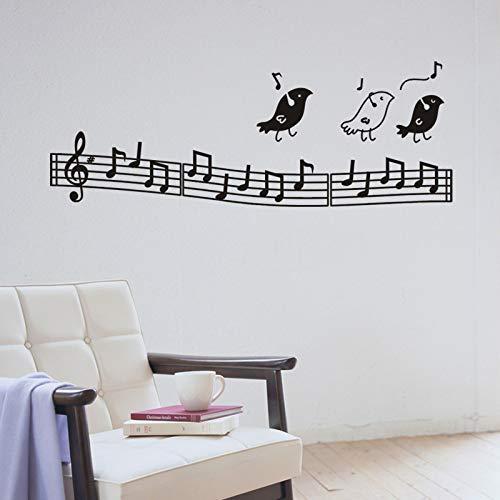 JXMK Pegatina Creativa Music Stave Musical Birds Etiqueta de Pared Tallada respetuosa con el Medio Ambiente 120x43cm