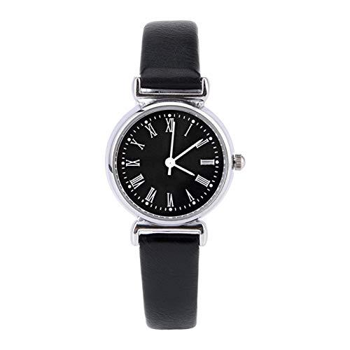 Reloj de vestir para mujer, reloj de moda, mini reloj pequeño, reloj de vestir para dama, reloj de esfera redonda, reloj exquisito, reloj de pulsera de cuero retro(Disco negro cinturón negro)