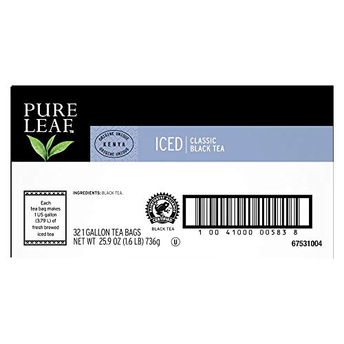 Pure Leaf Black Unsweetened Iced Tea Bags Made with Tea Leaves Sourced from Rainforest Alliance Certified Farms, 1 gallon, Pack of 32