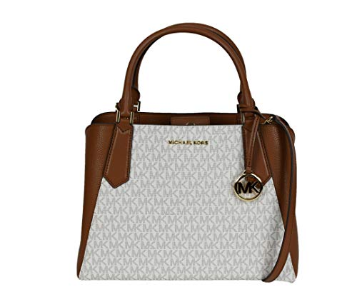 Meet the lovely Kimberly Large Satchel Crossbody Top Handle Signature Bag Vanilla with Luggage Leather and golden MK Fob. Kimberly is new favorite Top Handle Satchel or Crossbody Bag. Her sleek silhouette and functional inside tri pocket functionalit...