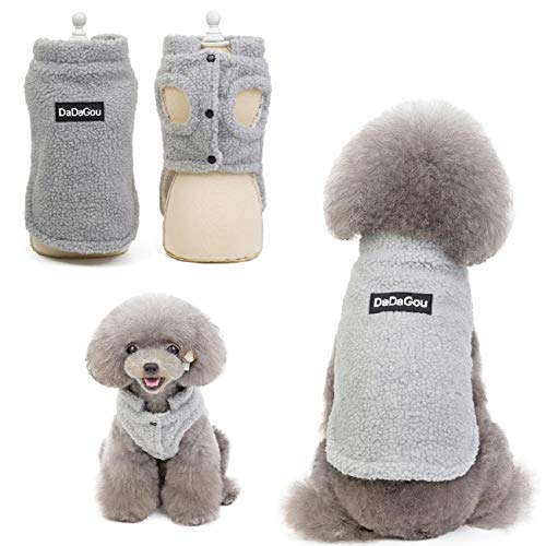 Tineer Pet Doggy Winter Lamm Kaschmir Mantel Warme Outdoor Fleece Hundefleece Futter Pullover Jacke Weste für kleine mittelgroße Hunde (S, Grau)