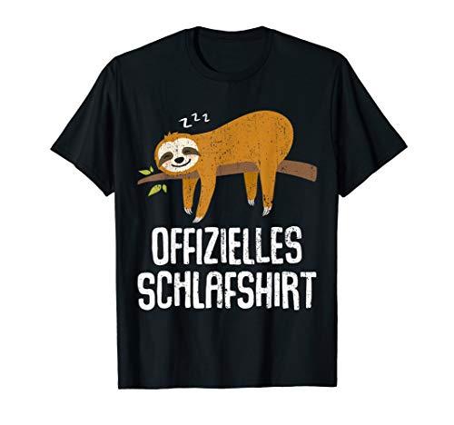 Nachthemd Schlafshirt Pyjama Schlafanzug Faultier Geschenk T-Shirt
