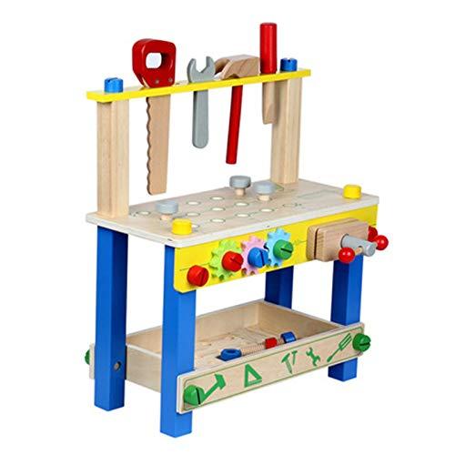 Banco de trabajo y herramienta para niños Juguetes de madera Banco de trabajo Niños Banco de trabajo Kit de herramientas de madera DIY Banco de trabajo para niños con llaves de martillo de juguete Jug