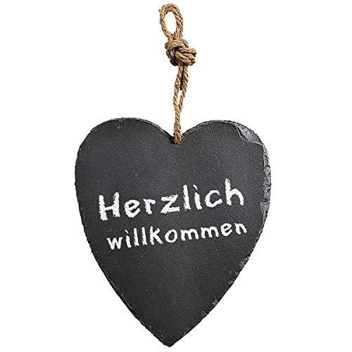 KESPER schieferanhanger dekoanhänger, cœur, cœur en Ardoise huilée, Dimensions: 230 x 270 mm (Noir)