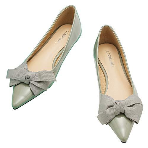 C.PARAVANO Zapatos planos puntiagudos para mujer I mujer zapatos planos I mujer zapatos planos I zapatos planos para mujer I punta plana I negro zapatos planos mujer, 4-verde...