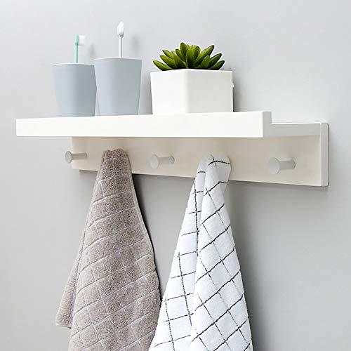 Perchero de pared de bambú con ganchos. Estante superior flotante para almacenamiento de objetos. Para pasillo, baño, sala de estar o dormitorio