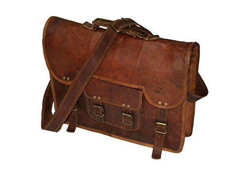 Vintage Piel Bazaar Piel de Cabra–Bolsa de transporte para ordenador portátil, marrón (Marrón) - 261893408154