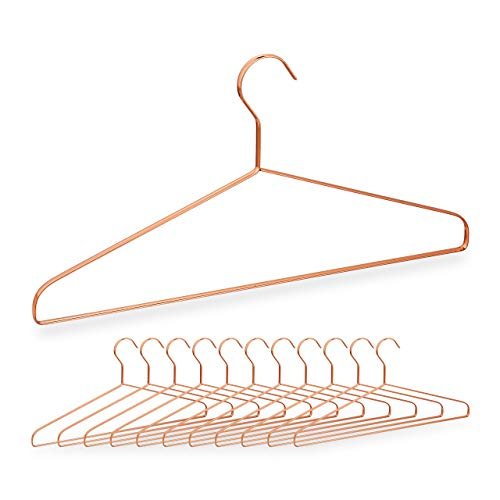Relaxdays Grucce Appendiabiti, in Set da 12, per Camicie, Giacche & Pantaloni, Salvaspazio, Metallo, L: 42 cm, Rame
