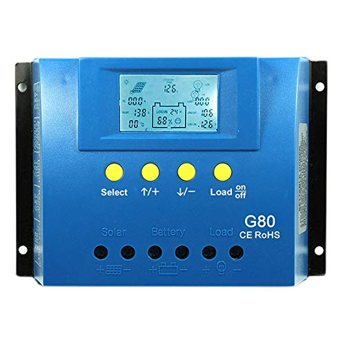 Temank Solar Charge Controller 80A 12V/24V Auto, PWM Solar Regulator 80 amp Max Input 960W-1920W with Backlight LCD Display Dual USB 5V fit for Lead-Acid Batteries
