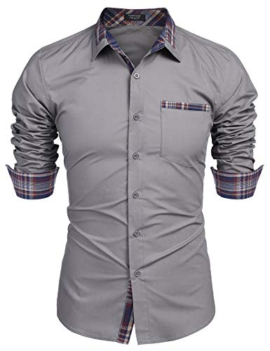COOFANDY Men's Casual Plaid Collar Slim Fit Dress Shirt Cotton Long Sleeve Button Down Shirt Grey