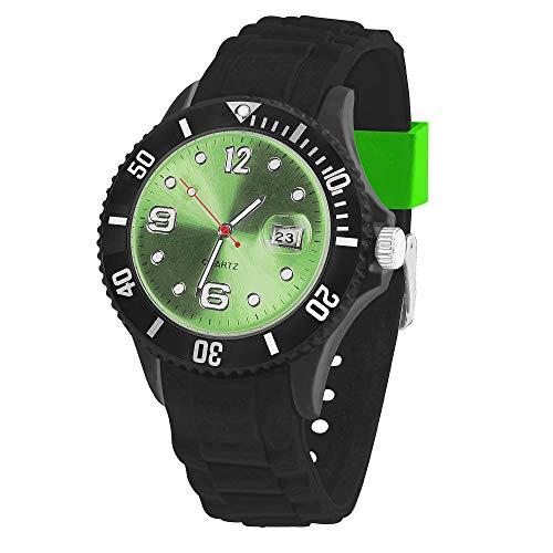 Taffstyle Damen Herren Sportuhr Armbanduhr Silikon Sport Watch Farbiges Ziffernblatt mit Datum Analog Quarz Uhr Schwarz Grün