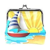 Portamonete a vela e spiaggia, stile vintage, in pelle PU, per donne, ragazze, adolescenti e bambini