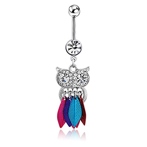 Covermason El buho cristalino lindo cuelga la joyería de Piercing del cuerpo del anillo del ombligo de la barra del botón de vientre (Multicolor)
