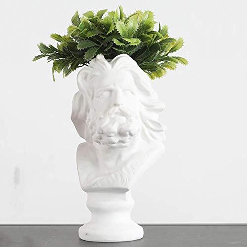 GPWDSN Estatua de Cabeza pequeña, macetero de Cabezas, Figura de Resina, Escultura de Cabeza y Busto, Adorno, Maceta, jarrón, jardín, decoración del hogar, Marsella B, 9x16cm
