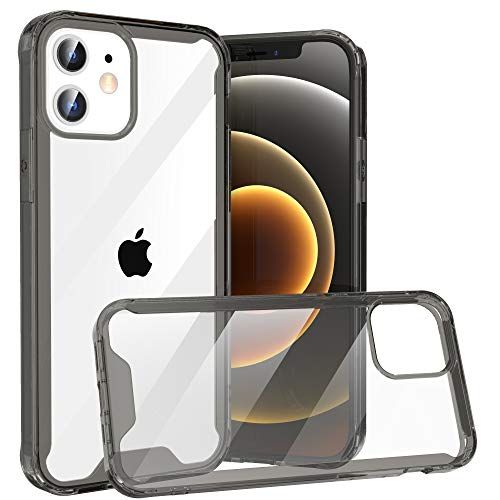 Krichit Shockproof Case for iPhone 12 & iPhone 12 Pro Clear Case Hard PC Back Anti-Scratch, Soft TPU Bumper, Protective Cover for iPhone 12 & iPhone 12 Pro (Grey)