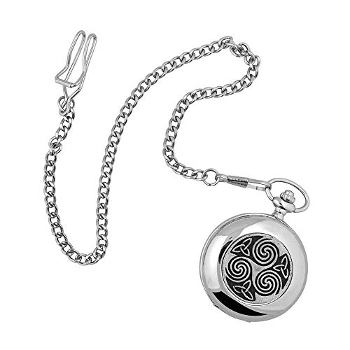 Irish Celtic Pocket Watch | Mullingar Pewter | Knots and Swirls Face Design | Genuine Pewter Metal | Comes in Display Box | Irish Gifts