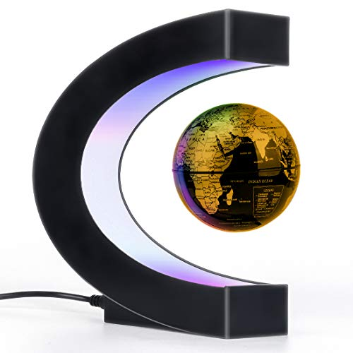 Magnetic Levitation Floating Globe with LED Light, Desk Gadget Decor, Fixture Floating Globes & Shade, Cool Tech Gifts for Men/Father/Husband/Boyfriend/Kids/Boss, Great gift idea (golden)