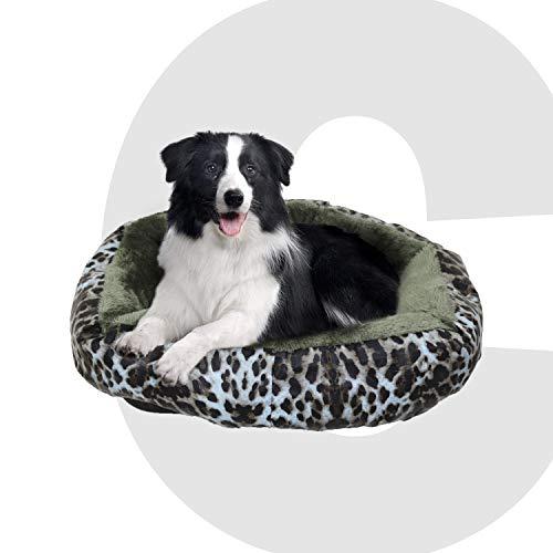 Colchoneta Mascota Cama Perro, 66 X 66 X 22CM, Cama de Perros Grandes, Gato, Cama para Perros, Cama para Mascotas Desmontable y Extraíble Lavable (M: Tamaño Mediano, Leopardo Verde Redondo)