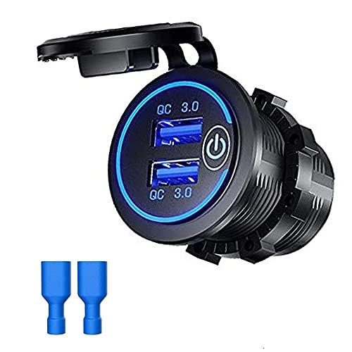 Cargador USB Dual Adaptador de Carga rápida Impermeable con Enchufe Adaptador de Toma de Corriente Barco Marino Motocicleta Camión Herramientas para vehículos